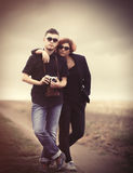 Style young couple at countryside Stock Photos