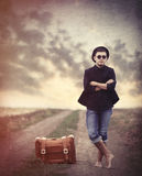 Style young man with suitcase Royalty Free Stock Photography