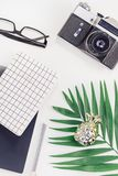 Styled design office workspace desk with camera. Top view flat lay office workspace desk styled design office supplies tropical palm leaves smartphone camera royalty free stock photos