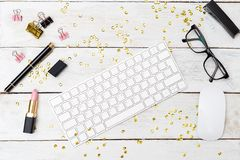 Free Styled Feminine Desktop With Sparkles And Lipstick. Flatlay Stock Images - 99560564