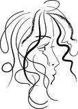 Styled girl abstract. Styled  girl line art abstract  image on  white background Royalty Free Stock Photo