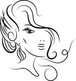 Styled girl face. Styled  girl line art abstract  image on  white background Stock Images