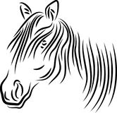 Styled hair horse head abstract. Horse head brush stroke styled hair drawing image with isolated white background Stock Images