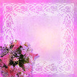 Styled lace frame with roses Royalty Free Stock Image