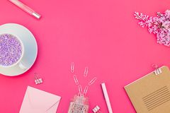 Styled pink feminine workspace flat lay Royalty Free Stock Photography