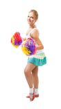 Styled professional woman cheer leader. Dance with Pompoms stock photo