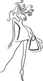Styled shopping girl. Line art abstract black and white image on isolated white background Royalty Free Stock Photography