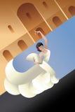 Styled Spain Flamenco dancer on sity landscape Royalty Free Stock Photos