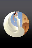 Styled Spain Flamenco dancer on sity landscape Royalty Free Stock Photography