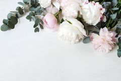 Styled stock photo. Decorative still life floral composition. Wedding or birthday bouquet of pink and white peony. Flowers and eucalyptus branches, white table royalty free stock photography