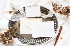 Styled stock photo. Winter, fall wedding, birthday table composition. Stationery mockup scene. Greeting cards, envelope stock photo
