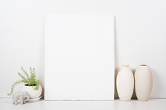 Styled tabletop, empty frame, painting art poster interior mock- Stock Photo