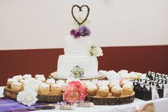 Styled Wedding Cake and Cupcakes royalty free stock image