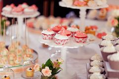 Styled wedding cookies. Decorated sweets Royalty Free Stock Images