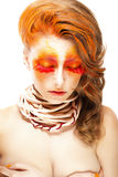 Fiery Stylized Woman with Closed Eyes. Red False Lashes. Creative Make up Stock Photography