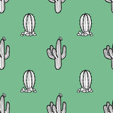 2 styles of cactus in black outline and white plane on retro. 2 styles of cactus in black outline and white plane on retro green background. Hand drawn style Stock Photo