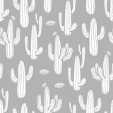 3 styles of cactus and blossom in white plane style. On light gray background. Hand drawn style. Seamless pattern vector illustration Royalty Free Illustration