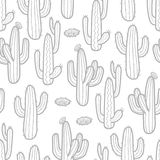 3 styles of cactus in light gray outline on white background.. 3 styles of cactus in light gray outline on white background. Hand drawn style. Seamless pattern Royalty Free Stock Photos