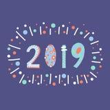 2019 styles de inscription de papercut d'illustration Conception tirée par la main plate de bonne année de bande dessinée Nouvell illustration libre de droits