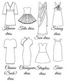 Styles of dresses outline Stock Photography