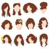 Styles hair silhouettes, woman hairstyle with brown hair Royalty Free Stock Photo