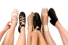 Styles Of Dance Shoes In Feet Stock Image