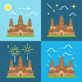 Styles plats de la conception 4 d'Angkor Wat Cambodia Illustration Libre de Droits