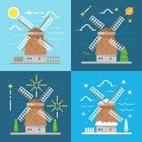 Styles plats de la conception 4 de moulin à vent Amsterdam Netherland Photographie stock libre de droits