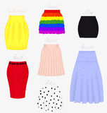 Styles of skirts. Set of different styles of skirts isolated on white background Royalty Free Stock Photos