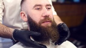Styling after beard cutting. Finishing stage of customer service by hands in black gloves. Close up view of happy client. Professional styling after beard stock footage