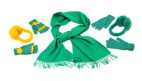 Styling a green scarf with different accessories. Stock Image
