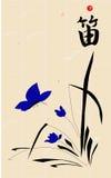 Stylisation de la pintura de la tinta de Japanase con la flauta del bambú del jeroglífico Ilustración del vector Fotografía de archivo
