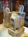 Ancient Egyptian Stone Statues, Louvre Museum, Paris, France royalty free stock photos