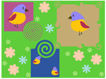 Stylised background with flower and birds. Stylised background with flower patterns geometrical figures and birds Royalty Free Stock Photos