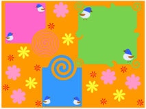 Stylised background with flower and six birds Royalty Free Stock Photography