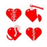 stylised broken hjärtor som ställs in Royaltyfri Bild