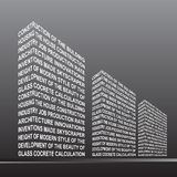 The stylised building, built out of words. Royalty Free Stock Photo