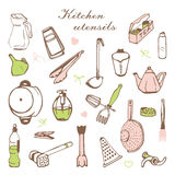 Stylised card with kitchen shelves and cooking utensils. Complete vector set of 22 items of kitchen utensils that may come in handy in the kitchen hostess that Stock Photos