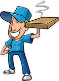 Stylised cartoon pizza delivery man Stock Photos