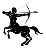 Stylised centaur archer illustration. An illustration of a stylised black centaur archer perhaps a centaur archer tattoo Royalty Free Stock Photos