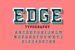 Stylised colorful 3d font. Edge, alphabet letters and numbers stock illustration