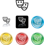 Stylised comedy and tradgedy m. Several versions of an icon symbol of a stylised set of masks royalty free illustration