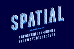 Stylised font. Stylised 3d font, alphabet letters and numbers royalty free illustration