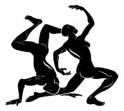 Stylised dancers illustration Royalty Free Stock Images