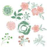 Stylised flowers drawing hand drawn royalty free stock photography