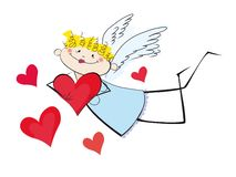 The stylised girl - an angel with hearts. The stylised angel with hearts on a white background Royalty Free Stock Image