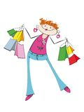 The stylised girl with purchases. On a white background Stock Photo