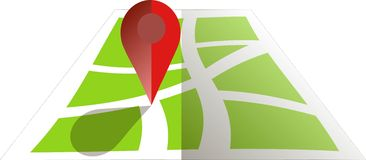 Stylised green map with red GPS dot. Flat design, object on white, design element stock illustration