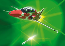 A stylised Hawk, firing a missile. A stylised BAE Hawk at altitude firing an air to air missile Stock Photos