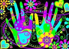Stylised hippie hands. A pair of hands stylized with a flower power psychedelic pattern in bright colors with hearts, flowers and stars for backgrounds, post royalty free illustration